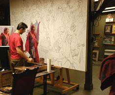 Scott Burdick (b. 1967) painting in his artist studio #workspace. scottburdick.com