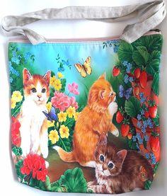 Cat kitten flower butterfly garden kitty shoulder handbag shopping tote handmade #Handmade #ShoulderBag