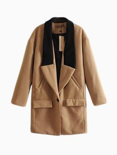 Brown Wool Coat With Contrast Color Collar - Choies.com $53