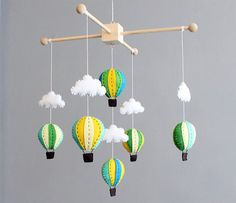 Baby Mobile - Wooden Blue, Green And Yellow Hot Air Balloon Crib Cot Mobile