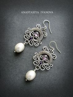 handmade: earrings technique: wire-wrapping materials: silver, amethyst, andpearls.