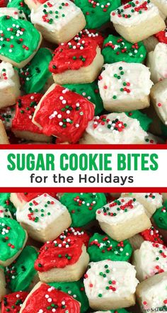 Christmas Sugar Cookie Bites These Sugar Cookie Bites for the Holidays are amazing! They were the best Holiday Dessert that I made last year. Everyone loved the bite-sized frosted sugar cookies and they were super easy to make too. Christmas Sugar Cookies, Christmas Snacks, Christmas Cooking, Holiday Treats, Holiday Recipes, Holiday Cookies, Christmas Goodies, Christmas Candy, Christmas Dessert Recipes