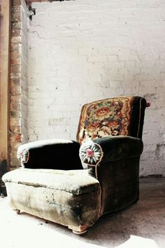 hand patched vintage chair