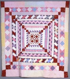 Frame quilt, 1890-1910, made from different colored cottons.  It contains a four star central motif in red which is followed out in red diagonal squares that form a large X over the surface of the quilt. Antique Quilts, Vintage Quilts, Quilting Ideas, Quilt Patterns, Medallion Quilt, Pink Quilts, Row By Row, Patchwork Designs, Quilt Making