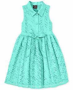 Pink & Violet Little Girls' Satin-Collar Lace Dress - Kids - Macy's