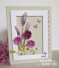 Antilles Floral Border, Lavender Bunch, Rectangles Basics Set, and Petite Dolly Frames dies along with sentiment from the So Many Things to Love Clear Set