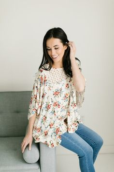 Lace Detail Floral Tunic- Ivory