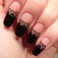 Best Cutest And Trendy Lace Nails Inspirational Idea - Page 2 of 50 - Marble Kim Design Beautiful Nail Art, Gorgeous Nails, Creative Nail Designs, Nail Art Designs, Lace Nail Design, Nails Design, Gothic Nails, Simple Acrylic Nails, Lace Nails
