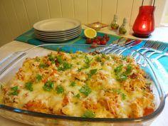 Ovnsbakt kylling med kremet makaroni, bacon & grønnsaker - HA-bloggen Moussaka, Poultry, Cauliflower, Macaroni And Cheese, Nom Nom, Chicken Recipes, Bacon, Bbq, Food And Drink