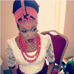 Beautiful Nigerian bride coral beads wedding