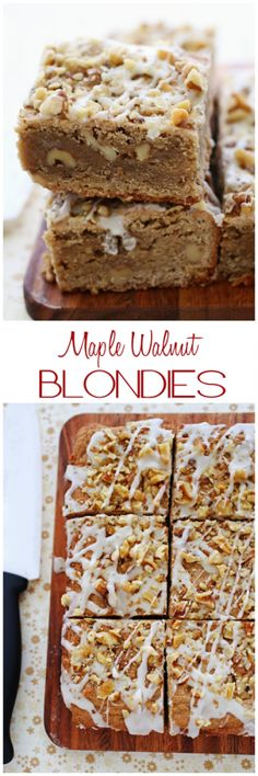 Tried-and-true blondie bars infused with the unmistakable taste of maple syrup and toasted walnuts. Soft, chewy, and completely irresisible. Brownie Desserts, Brownie Recipes, Just Desserts, Cookie Recipes, Delicious Desserts, Dessert Recipes, Yummy Treats, Sweet Treats, Brownies