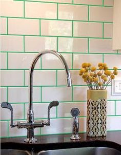 green grout - An idea for the kitchen. This grout would really pop with the apple green cupboards!!!