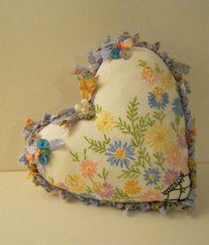 pretty heart pillow shabby chic pillow romantic by sandymastroni, $42.00