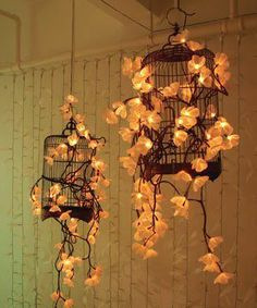 fairy lights in a cage