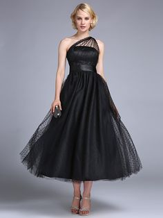 TS Couture® Prom / Formal Evening / Wedding Party Dress - 1950s / Vintage Inspired Plus Size / Petite A-line / Princess One Shoulder Ankle-length - USD $69.99
