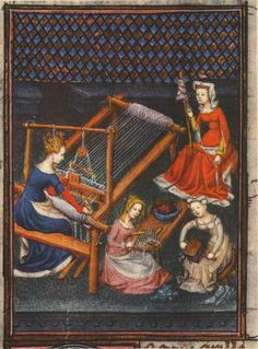 Giovanni Boccaccio, De mulieribus claris (On Famous Women), 1374, illustration showing women spinning, carding, and weaving wool