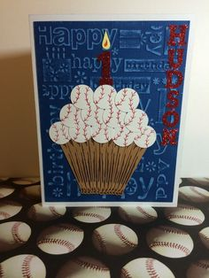 Baseball Birthday Card This birthday card is perfect for your little (or big) slugger! Make it an All Star birthday by ordering this handmade baseball cupcake birthday Birthday Cards For Boys, Masculine Birthday Cards, Bday Cards, Handmade Birthday Cards, Masculine Cards, Male Birthday, All Star, Baseball Birthday, Cricut Cards