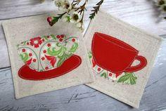 Retro Style Tea Cup Drinks Coasters - Set of 2 Coasters - Appliqué Coasters £12.00