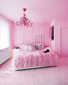 OMGosh...Love the color of pink used on walls and carpet...the bed cover is too neat..  curtains and chandelier beautiful, the cat the finishing touch!!!!!
