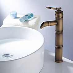 Art Deco/Retro Vessel Single Handle One Hole in Antique Brass Bathroom Sink Faucet – GBP £ 76.99