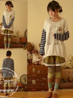 Owl family striped top #asianicandy #owl #stripes