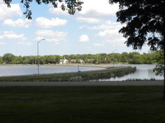 A view from Olson Campground & Park looking East across the Grade between Lake Okabena on the left and Sunset Bay on the right in Worthington, MN