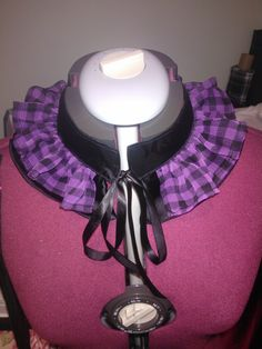Black satin collar with gathered purple/black check chiffon over top. https://www.facebook.com/AGypsysCollection