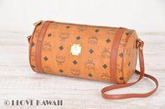 MCM Cognac Visetos / Brown Leather Shoulder Bag