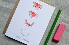 Happy Summer Smiling Watermelon Card. Summer Party Or BBQ Invitation Or Thank You Card.