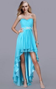 High Low Chiffon A-line Strapless Sweetheart Sleeveless Blue Homecoming Dress(LFNAG0109)