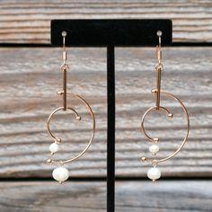 Geometric Gold & Pearl Dangle Fish Hook Earrings