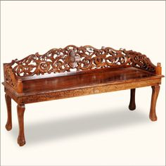 Chippendale Hand Carved Indian Rosewood Window Boudoir Bench