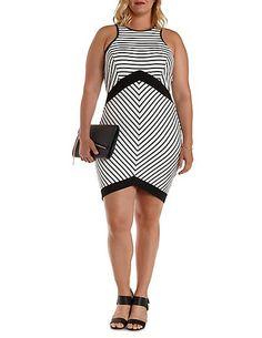Plus Size Racer Front Striped Bodycon Dress: Charlotte Russe #plus #plussize #charlotterusseplus