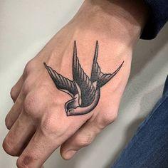 Bird Tattoos For Women, Little Bird Tattoos, Hand Tattoos For Guys, Small Tattoos For Guys, Cool Small Tattoos, Tattoos On Men, Mens Neck Tattoos, Woman Tattoos, Cool Tats