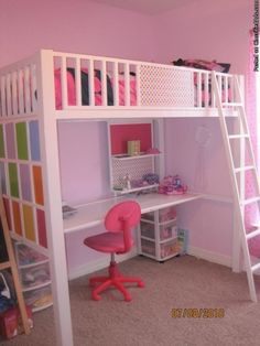 she wants a bunk bed even though she is an only child.great way to compromise with the desk space underneath.