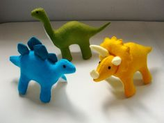 Felt Dinosaur Pattern Set - Stegosaurus, Triceratops, Brontosaurus, Vo