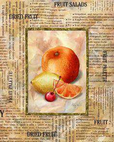 Art by Abby White Vintage Diy, Decoupage Vintage, Decoupage Paper, Vintage Ephemera, Kitchen Images, Kitchen Art, Veggie Images, Fruits And Veggies, Kitchens