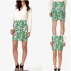 ✨NWT✨ White Essential Sketched Floral Pencil Skirt Really pretty Kelly green pencil skirt with white sketch floral pattern on it. No marks or damages, size 2, like X-small to size small. Sit higher on the waist. Small slit in the back with hidden zipper. ❌No trades please but open to reasonable offers. Please be kind and give me reasonable offers as my prices are pretty fair. I don't model my items since I am a terrible selfie pics taker. Thanks for understanding and happy poshing‼️ ✨SKIRT…