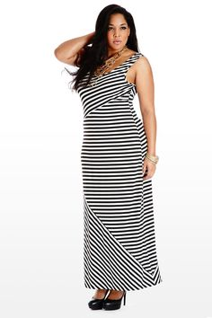 #fashiontofigure #plussizefashion Tank Me With You Striped Maxi Dress