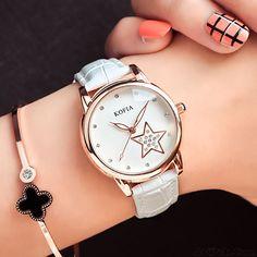 Fashion Diamond Quartz Cortical Star Luminous Waterproof Women Wrist Watch