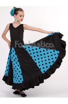 Vestido de Flamenca / Sevillana para Niña y Mujer Color Azul Lunares Negros Color Azul, Color Negra, Apron, Fashion, Templates, Dress Designs, Outfit, Gypsy Skirt, Ruffles
