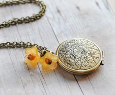 Sunflowers Locket Mothers Day Gift Jewelry Floral by LimonBijoux, $28.00