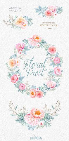 Questo set di 4 alta qualità a mano dipinto acquerello corona & mazzi: Peonie, fiori di rose inglesi, argento Nodiflora Grafica perfetta per inviti
