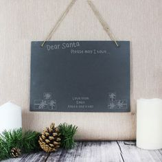 Children will love writing their Christmas wish list on this slate board and hanging it for Santa to see. A fun addition to your Christmas decorations that can Christmas Wishes, Christmas Themes, Slate Signs, Character Words, Personalized Christmas Gifts, Secret Santa Gifts, Hanging Signs, Rustic Feel, Gift Store