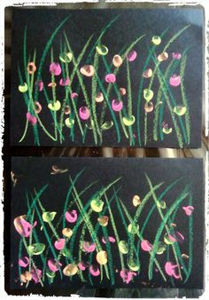 champ de fleurs sauvages, printemps, peinture aux doigts, activité enfant,