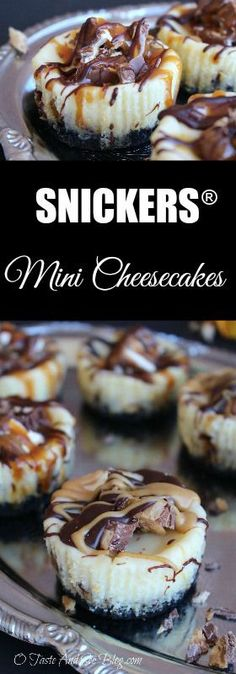 SNICKERS® Mini Cheesecakes - Don't be intimidated by the cheese cake part…. Mini Desserts, Brownie Desserts, Just Desserts, Delicious Desserts, Yummy Food, Tasty, Plated Desserts, Healthy Desserts, Mini Dessert Recipes