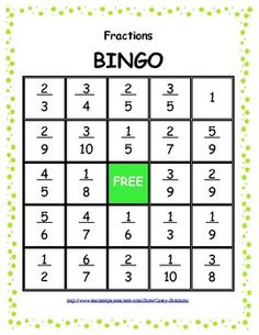 BINGO: Math Fractions Game. Could make a blank one and ask students to fill in their own fractions, from a given list.