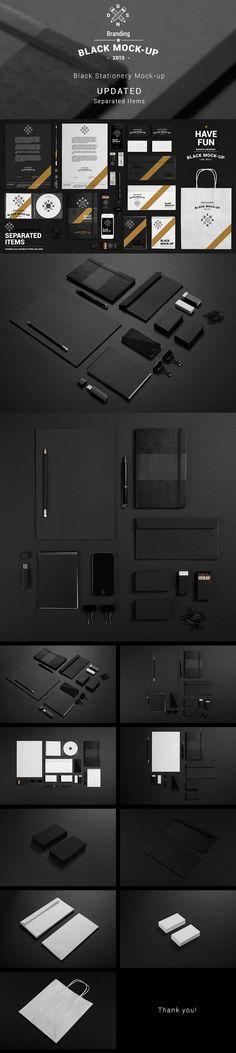 Black Stationery Mock-up by Aleksandr Samochernyi, via Behance
