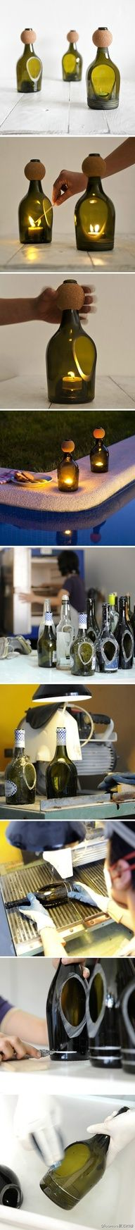 44 Simple DIY Wine Bottles Crafts And Ideas On How To Cut Glass: still not old enough to drink wine but I shall find one in any recycling bin to do this DIY! Wine Bottle Corks, Glass Bottle Crafts, Diy Bottle, Wine Bottle Candles, Beer Bottles, Garrafa Diy, Bottle Cutting, Cutting Glass Bottles, Cut Bottles