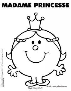 Monsieur Madame - Page Mr Men Little Miss, Vintage Coloring Books, Monsieur Madame, Emoji Faces, Princess Coloring, Silhouette Portrait, Book Week, Prince And Princess, Colouring Pages